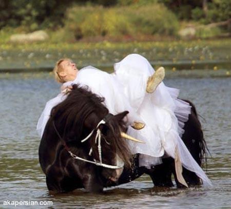 ماجرای خنده دار عروس آب کشیده (تصاویر)