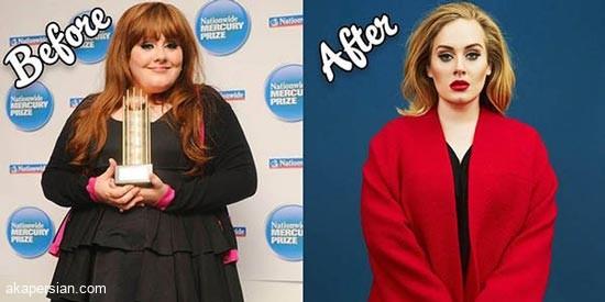 راز کاهش 50 کیلو وزن توسط ادل خواننده بریتانیایی + عکس